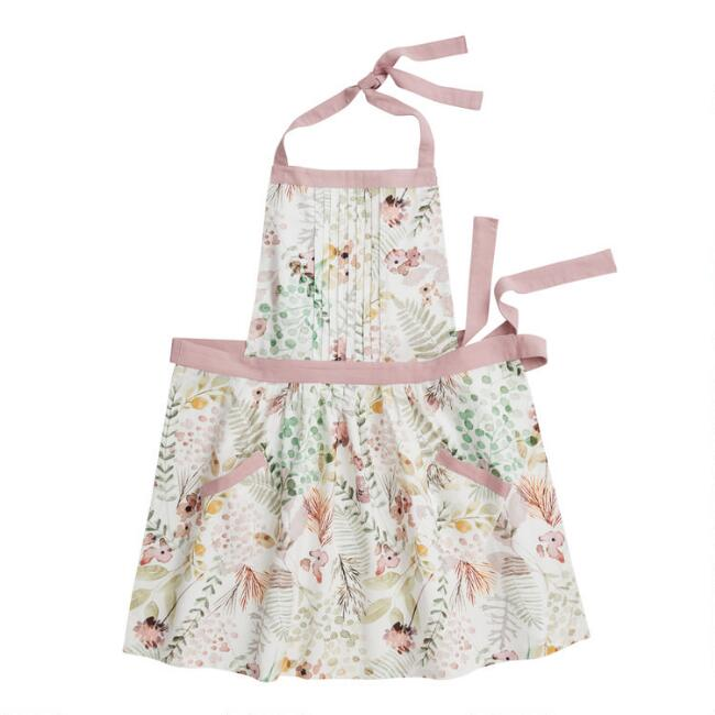 Green and Pink Fern Print Cross Back Apron
