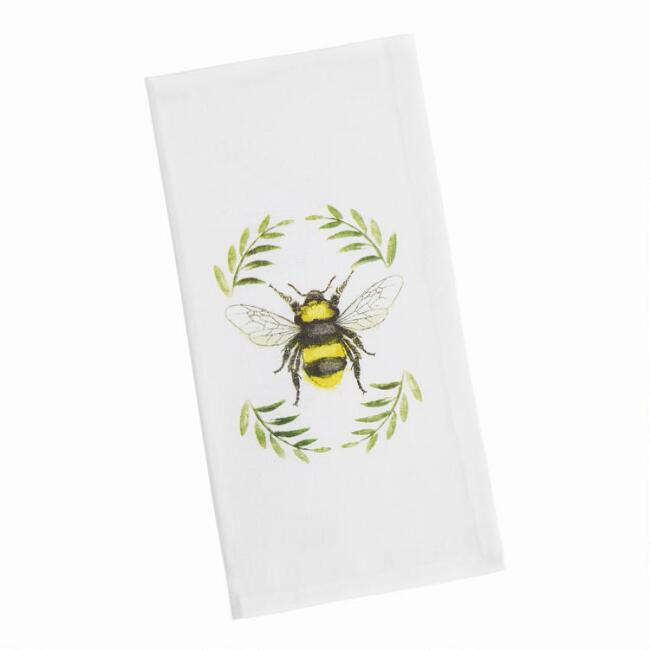 Watercolor Bee Kitchen Napkins Set of 4