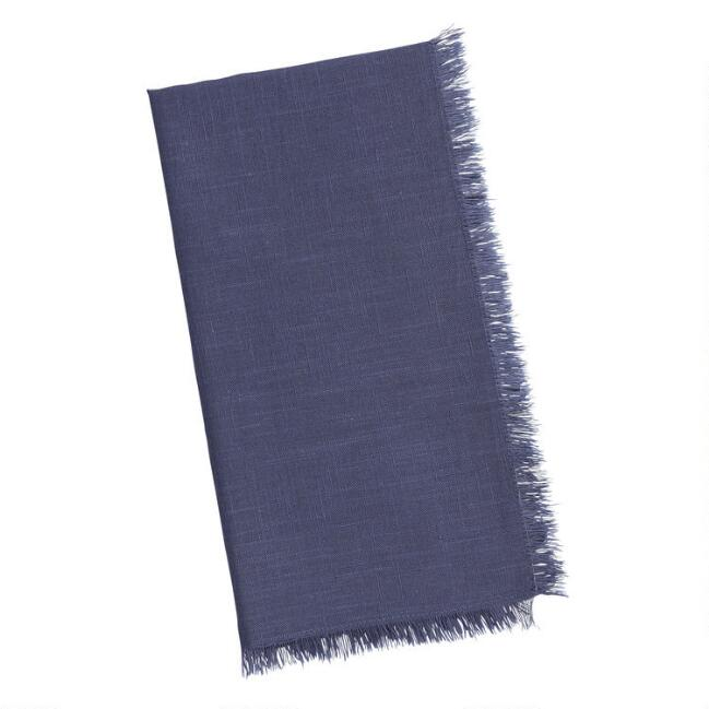Indigo Blue Cotton Slub Napkins with Fringe Set of 4