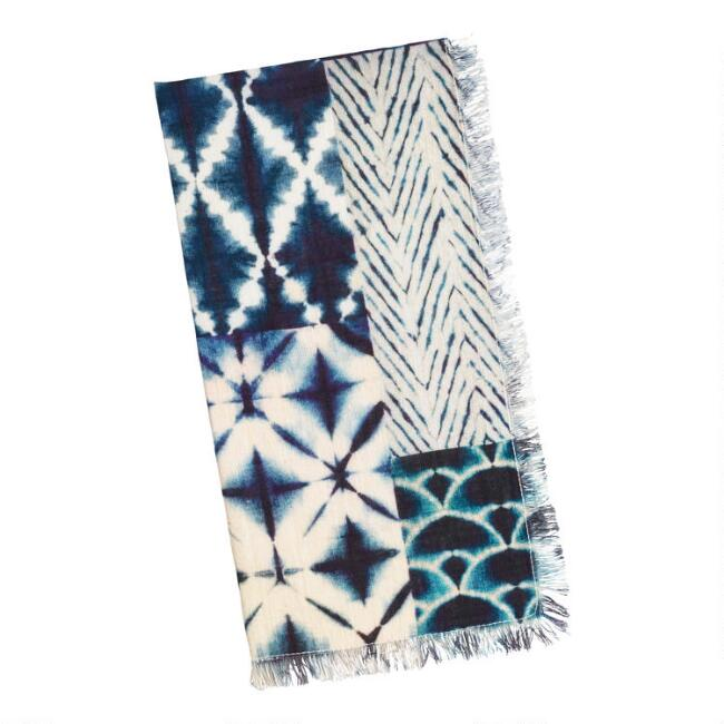 Blue Tie Dye Cotton Slub Napkins with Fringe Set of 4