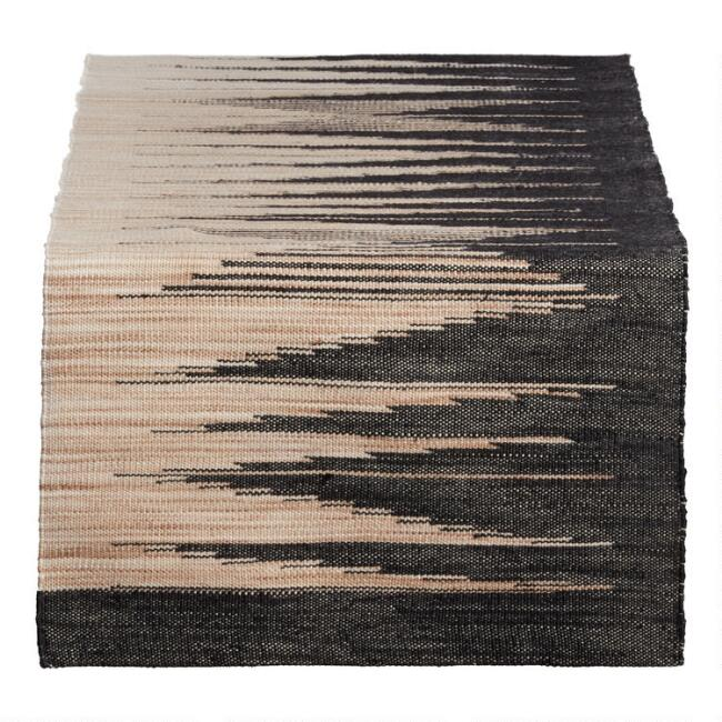 Woven Black and Natural Table Runner