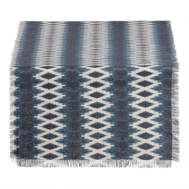 Indigo Diamond Print Jute Table Runner