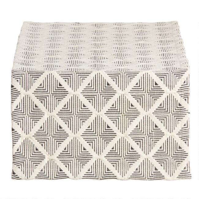 Black and Natural Woven Geometric Table Runner