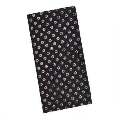 Black and Khaki Stamped Dot Print Napkins Set of 4