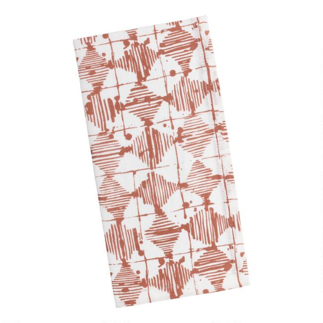 Terracotta Abstract Scribble Print Napkins Set of 4