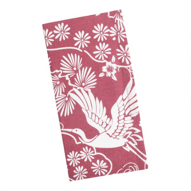 Dark Red and White Floral Crane Print Napkins Set of 4