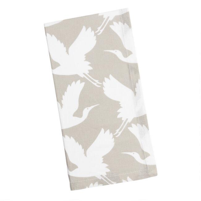 Taupe and White Crane Print Napkins Set of 4