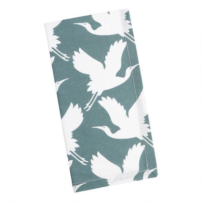 Dark Green and White Crane Print Napkins Set of 4