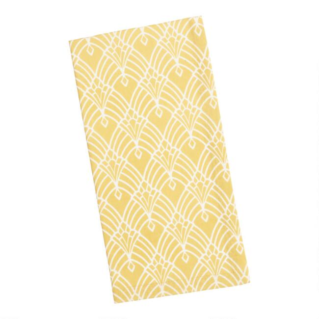 Golden Yellow Art Deco Diamond Napkins Set of 4