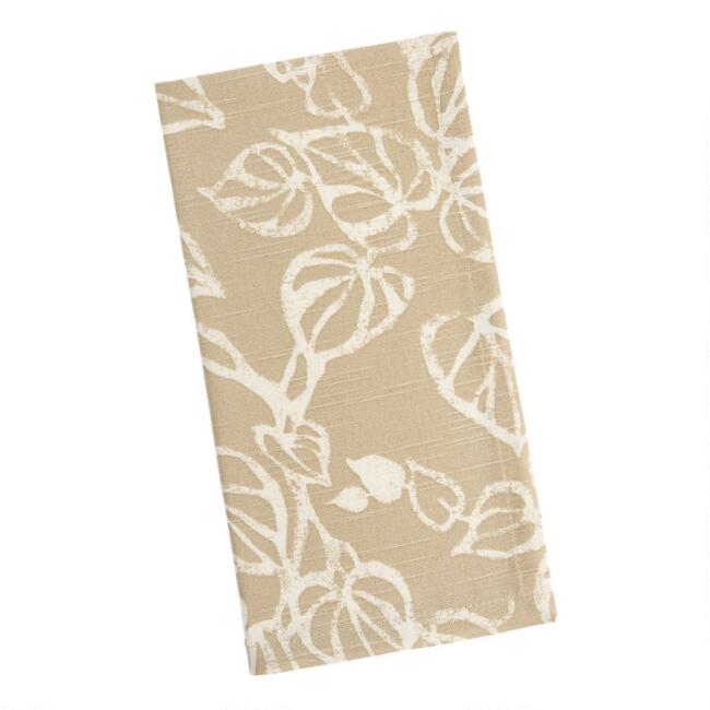 Taupe and White Vine Print Napkins Set of 4
