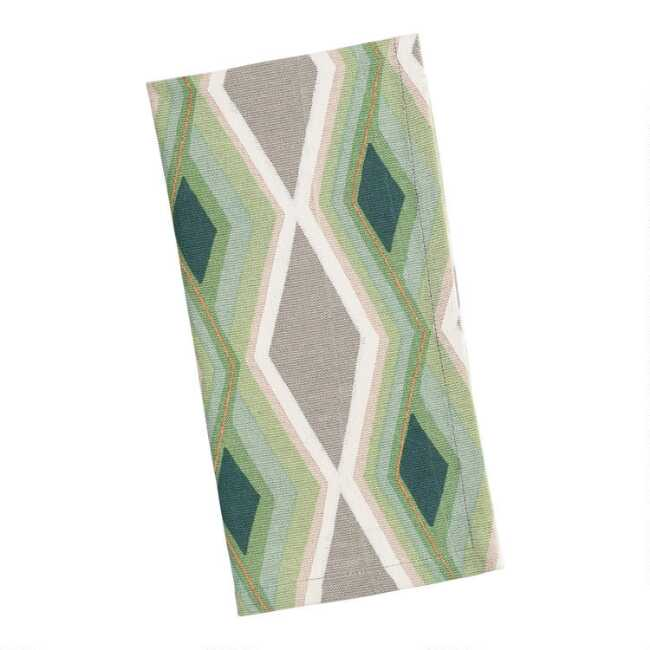 Green and Gray Art Deco Diamond Napkins Set of 4
