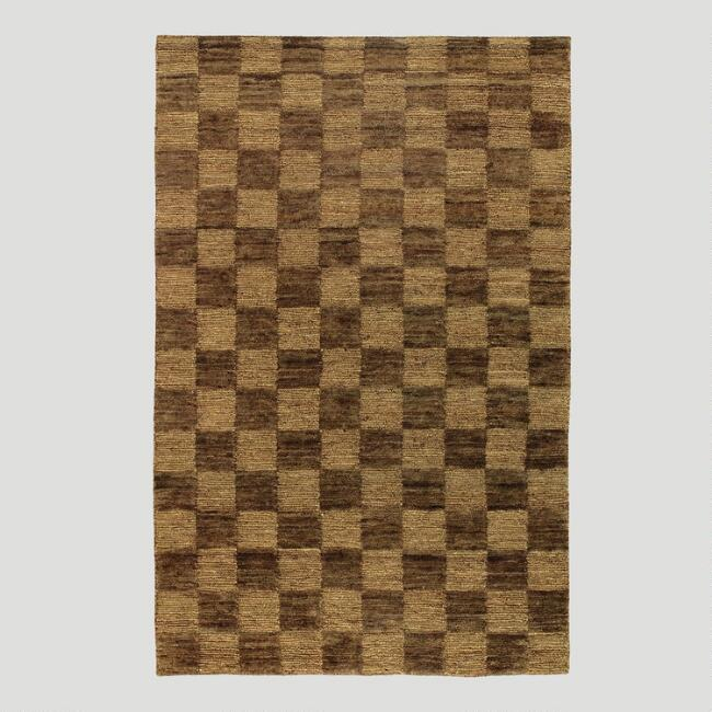 Check Jute Rug, Chocolate/Camel