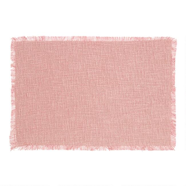 Dusty Pink Stonewashed Placemats with Fringe Set of 4