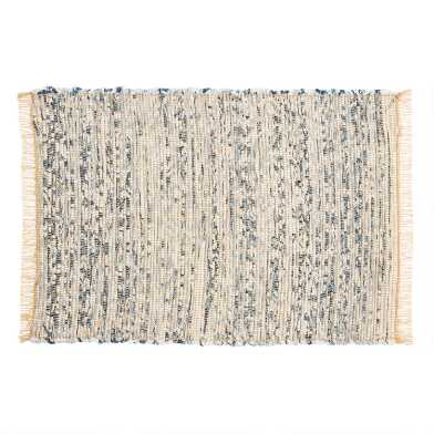 Gray Woven Cotton Chindi Placemats with Fringe Set of 4