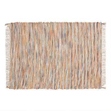 Warm Multicolor Chindi Placemats with Fringe Set of 4