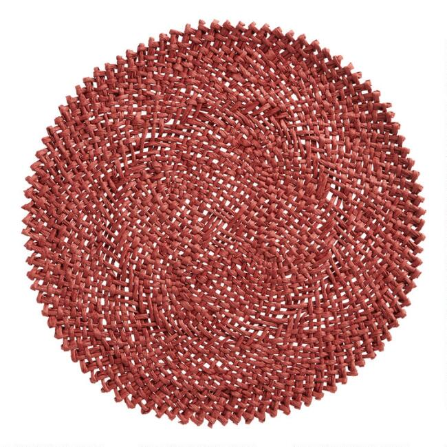 Round Burgundy Braided Paper Placemats Set of 4
