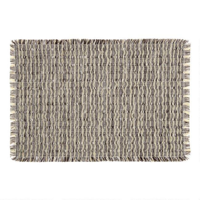 Black and White Woven Jute Reversible Placemats Set of 4
