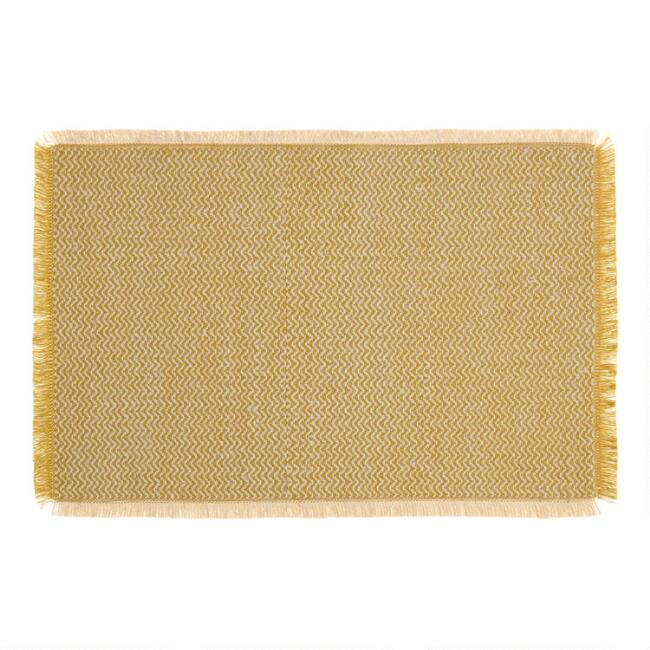 Sulphur Green Woven Jute Brice Placemats Set of 4