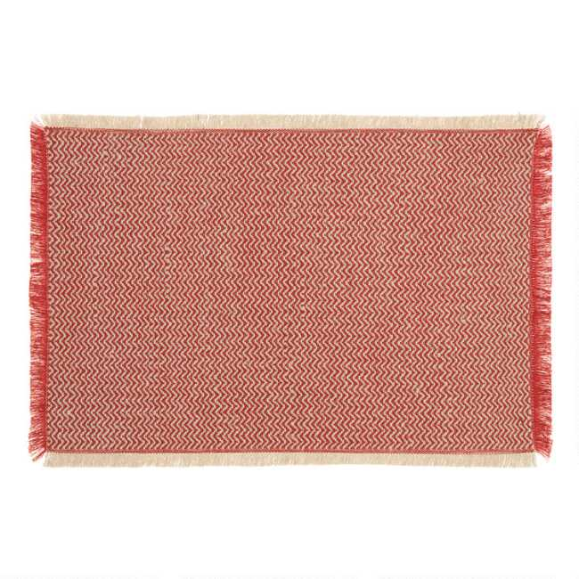 cbc492e62725 Spice Red Woven Jute Brice Placemats Set of 4