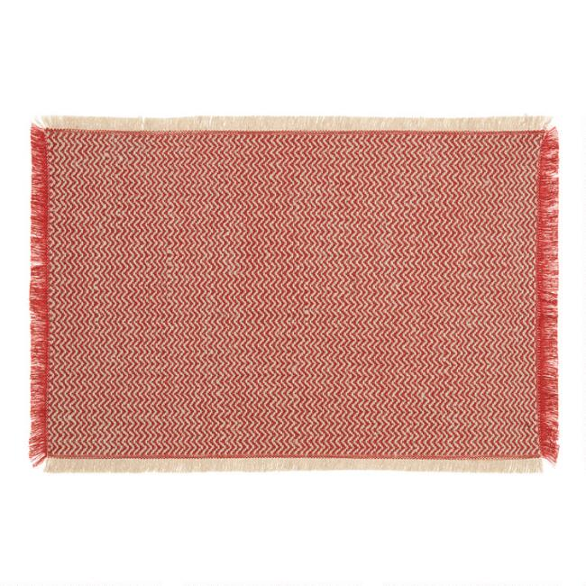 Spice Red Woven Jute Brice Placemats Set of 4