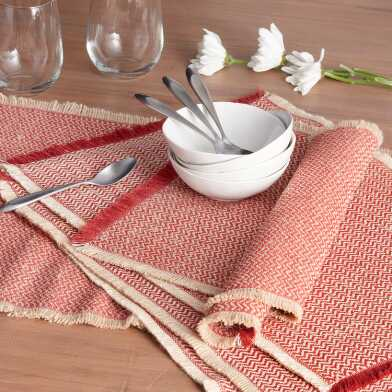 Spice Red Woven Jute Brice Table Linen Collection