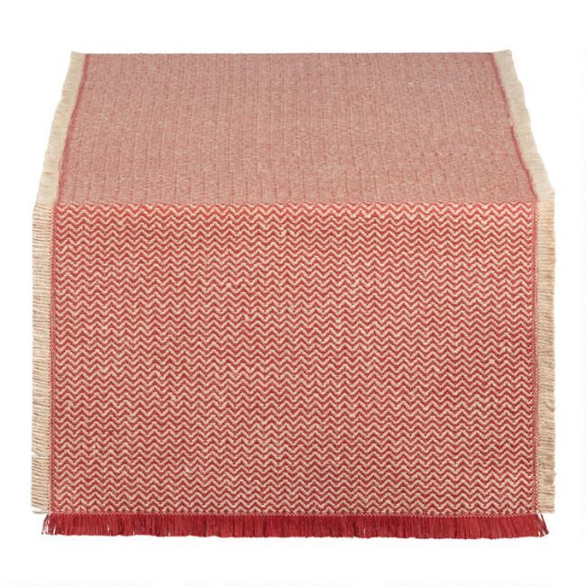 Spice Red Woven Jute Brice Table Runner