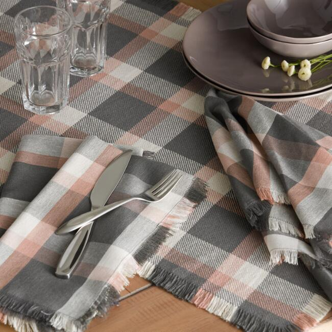 Gray and Cedarwood Check Table Linen Collection