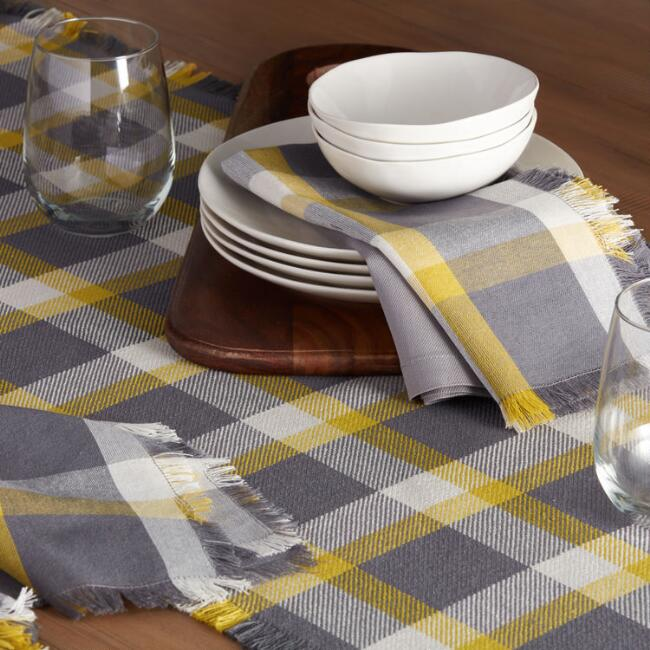 Gray and Green Check Table Linen Collection