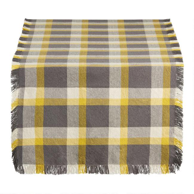 Gray and Green Check Table Runner