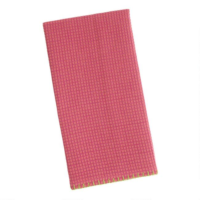 Pink Waffle Weave Kitchen Towel