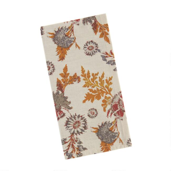Multicolor Autumn Print Claire Napkins Set of 4