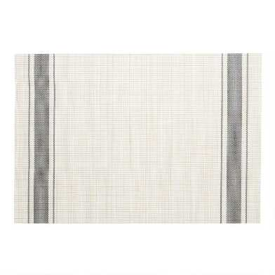 Black Bistro Stripe Woven Vinyl Placemats Set of 4