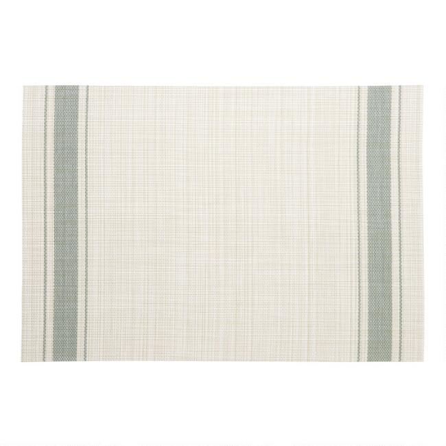 Green Bistro Stripe Woven Vinyl Placemats Set of 4