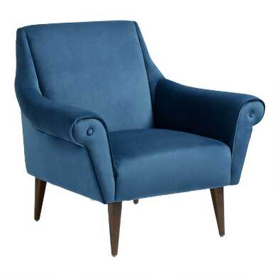 Atlantic Blue Velvet Modern Liliana Chair