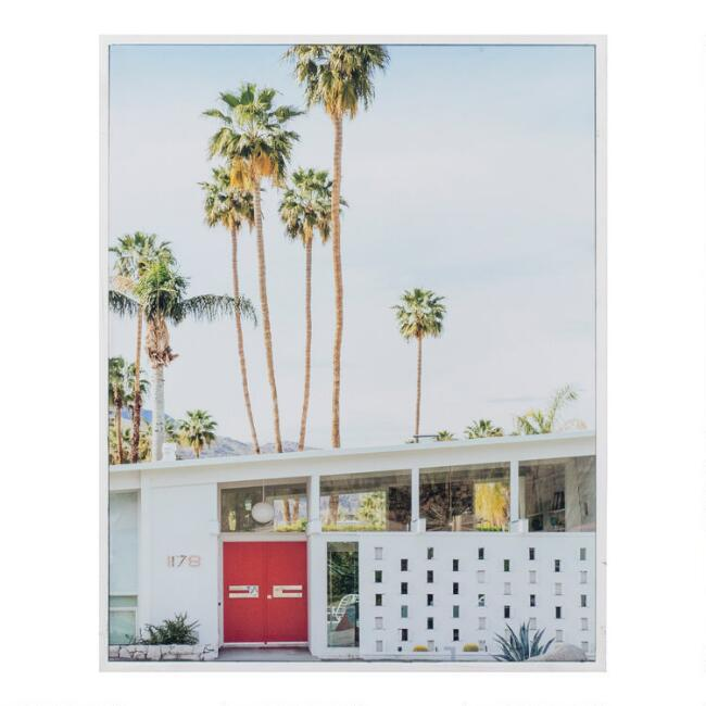 Palm Heights Home by Irene Suchocki Framed Canvas Wall Art