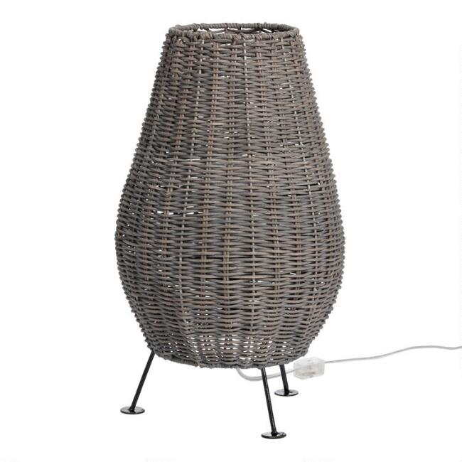 Gray Handwoven Rattan Capri Table Lamp