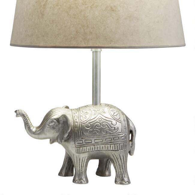 Pewter Etched Elephant Accent Lamp Base