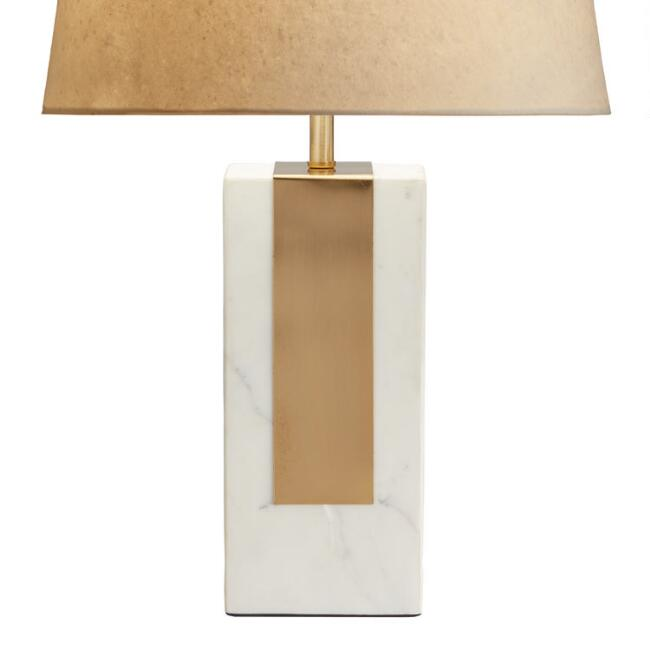 White Marble Block and Brass Table Lamp Base