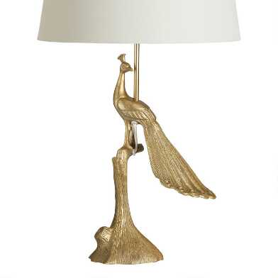 Brass Art Deco Peacock Table Lamp Base
