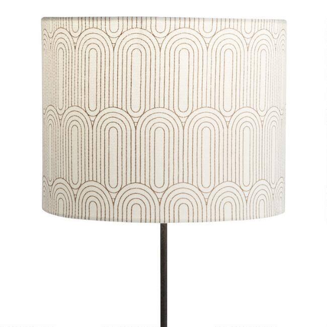 Ivory and Gold Art Deco Drum Table Lamp Shade