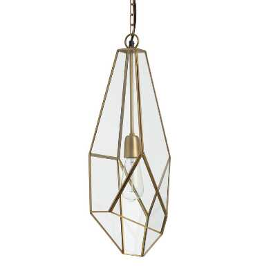 Antique Brass and Glass Faceted Teardrop Rylie Pendant Lamp