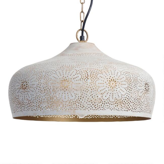 Gray Pierced Floral Metal Dome Pendant Lamp