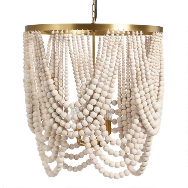 Large Whitewash Wood Draped Bead 4 Light Chandelier