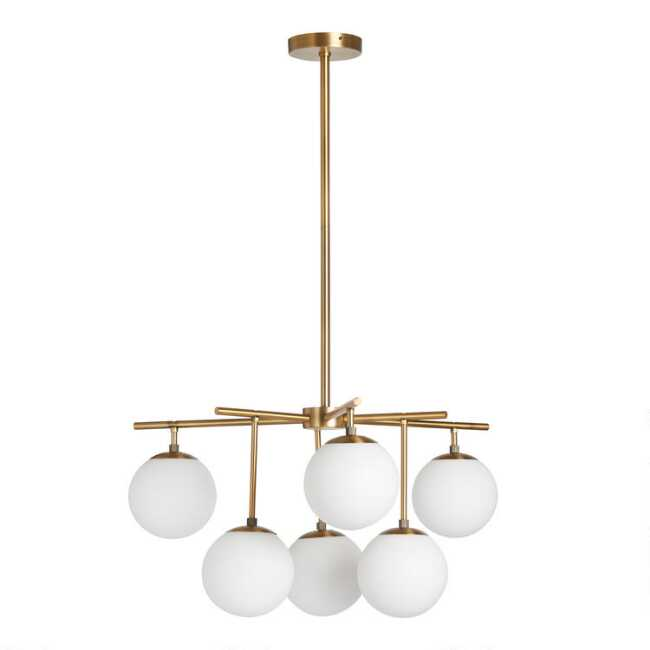 Gold Metal And Gl Globe 6 Light Josie Chandelier