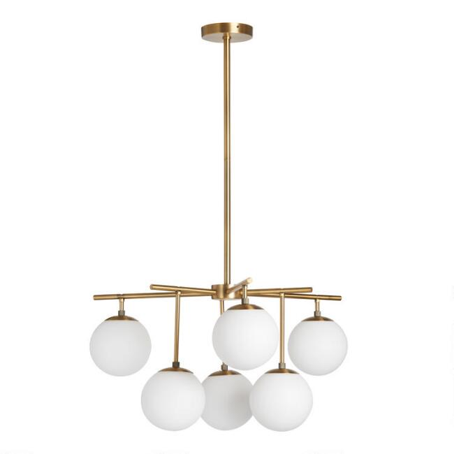 Gold Metal and Glass Globe 6 Light Josie Chandelier