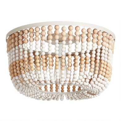 Whitewash and Natural Wood Bead Flush Mount Ceiling Light