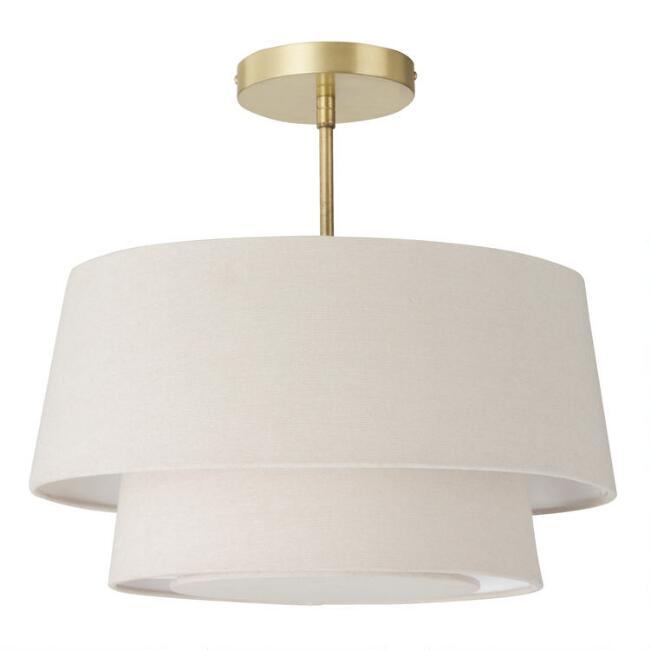 Gray Linen 2 Tier Semi Flush Mount Ceiling Light