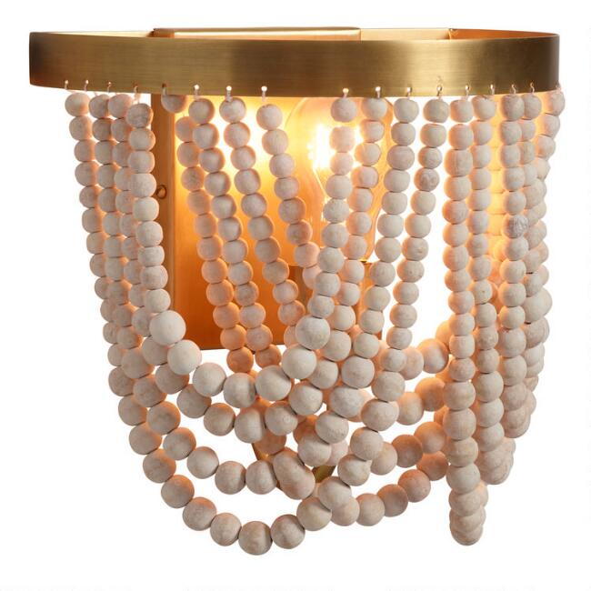 Whitewash Wood Draped Bead Wall Sconce