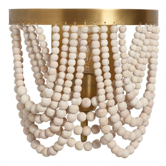 Whitewash Wood Draped Bead Wall Sconce by World Market