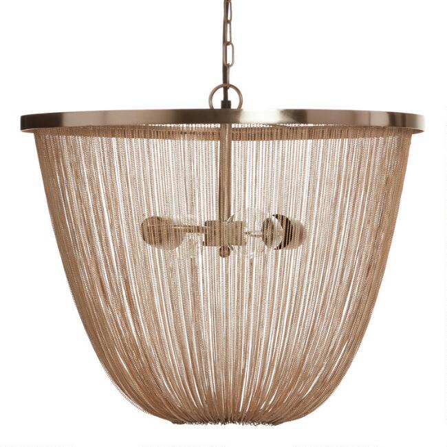 Champagne Gold Draped Metal Chain 2 Light Ella Chandelier
